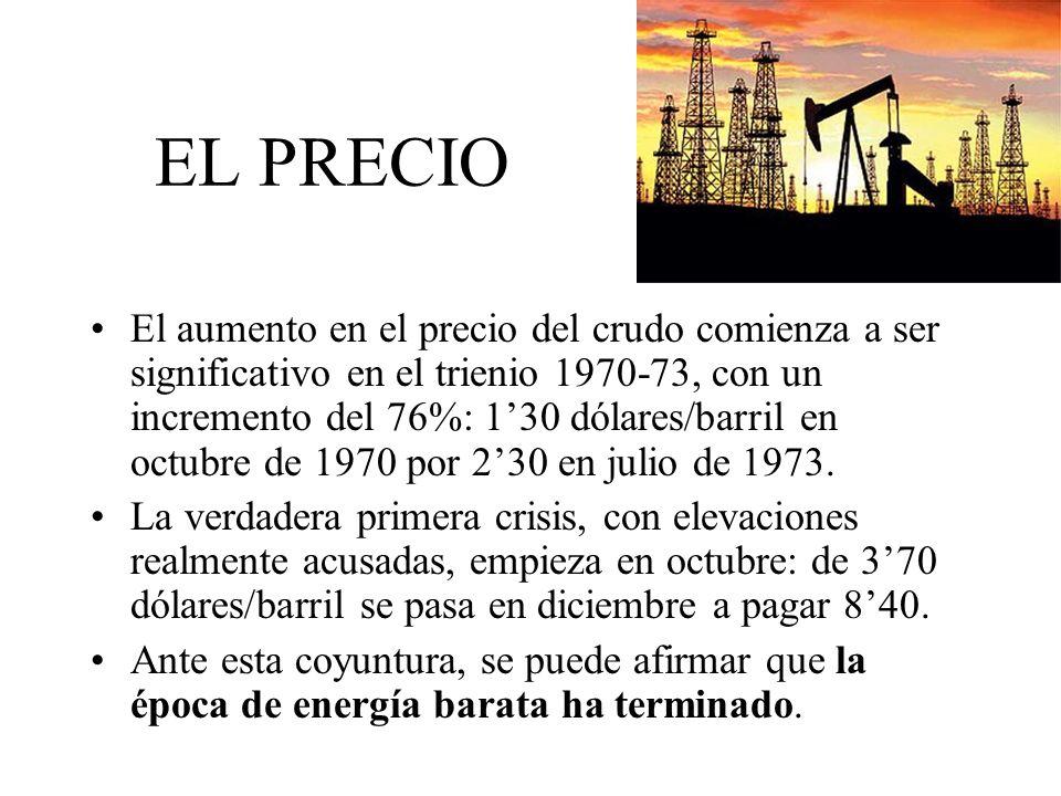 EL PRECIO El aumento en el precio del crudo comienza a ser significativo en el trienio 1970-73, con un incremento del 76%: 130 dólares/barril en octub