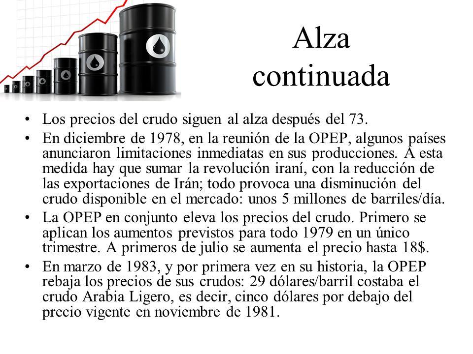 Alza continuada Los precios del crudo siguen al alza después del 73. En diciembre de 1978, en la reunión de la OPEP, algunos países anunciaron limitac