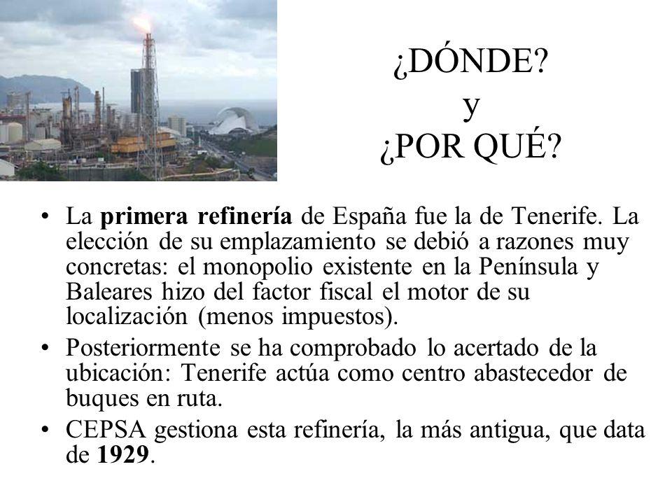 ¿DÓNDE? y ¿POR QUÉ? La primera refinería de España fue la de Tenerife. La elección de su emplazamiento se debió a razones muy concretas: el monopolio