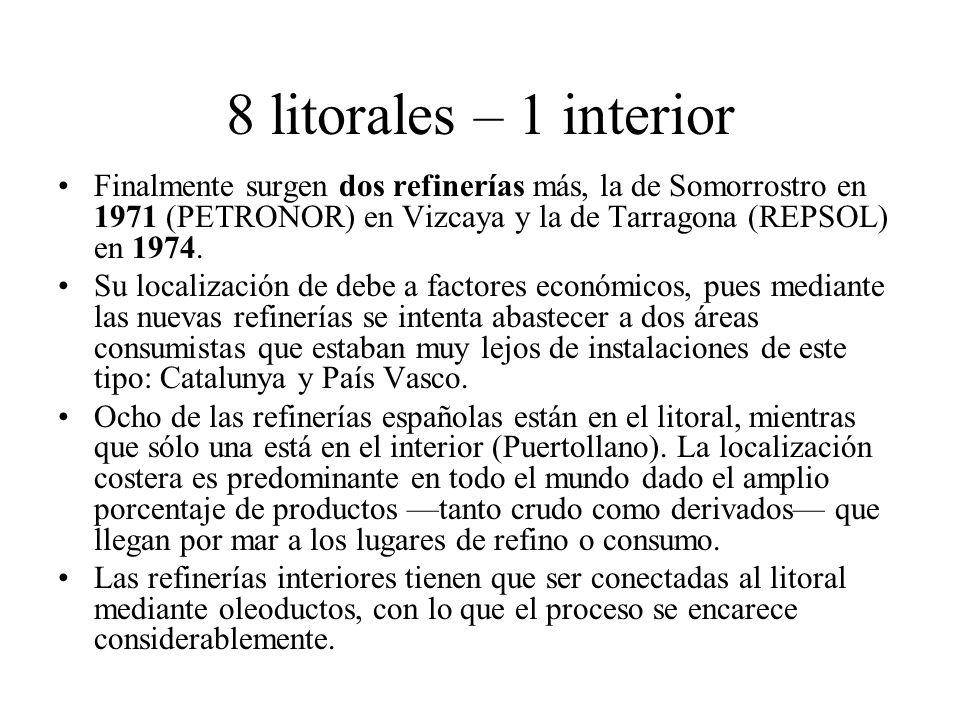 8 litorales – 1 interior Finalmente surgen dos refinerías más, la de Somorrostro en 1971 (PETRONOR) en Vizcaya y la de Tarragona (REPSOL) en 1974. Su