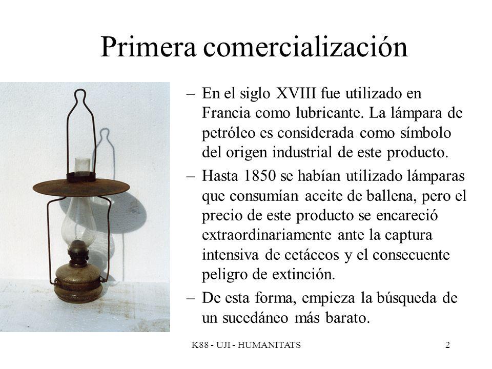 K88 - UJI - HUMANITATS2 Primera comercialización –En el siglo XVIII fue utilizado en Francia como lubricante. La lámpara de petróleo es considerada co