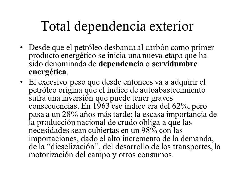 Total dependencia exterior Desde que el petróleo desbanca al carbón como primer producto energético se inicia una nueva etapa que ha sido denominada d