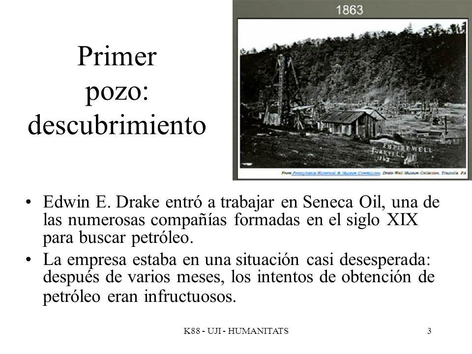 K88 - UJI - HUMANITATS3 Primer pozo: descubrimiento Edwin E. Drake entró a trabajar en Seneca Oil, una de las numerosas compañías formadas en el siglo