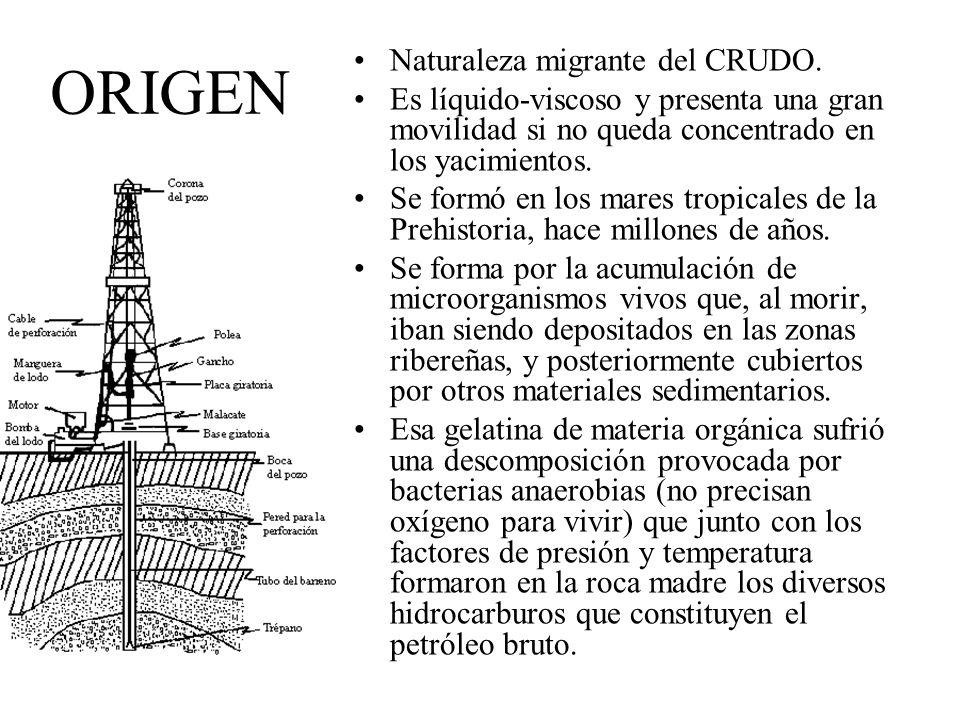 ORIGEN Naturaleza migrante del CRUDO. Es líquido-viscoso y presenta una gran movilidad si no queda concentrado en los yacimientos. Se formó en los mar