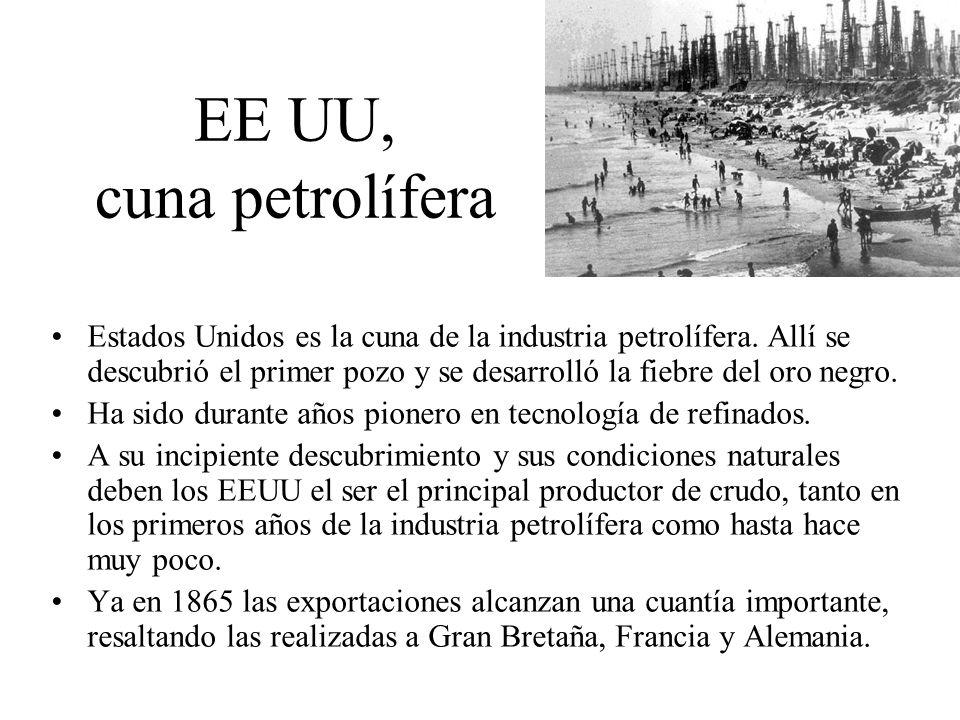 EE UU, cuna petrolífera Estados Unidos es la cuna de la industria petrolífera. Allí se descubrió el primer pozo y se desarrolló la fiebre del oro negr