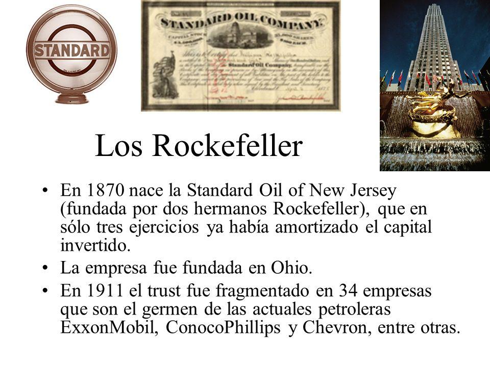 Los Rockefeller En 1870 nace la Standard Oil of New Jersey (fundada por dos hermanos Rockefeller), que en sólo tres ejercicios ya había amortizado el
