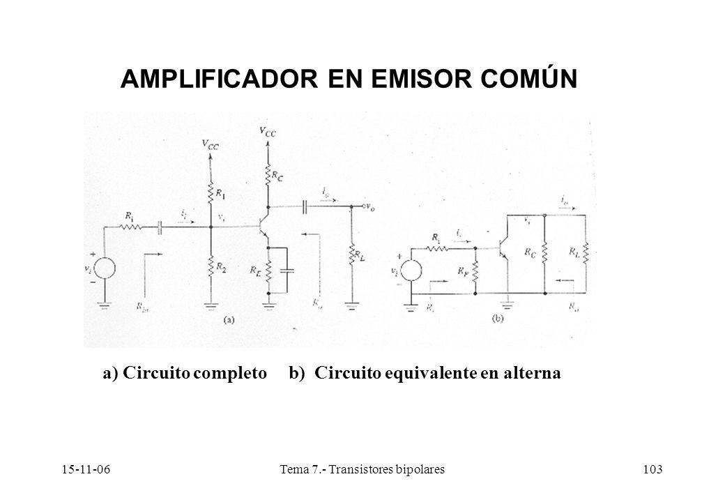 15-11-06Tema 7.- Transistores bipolares103 AMPLIFICADOR EN EMISOR COMÚN a) Circuito completo b) Circuito equivalente en alterna