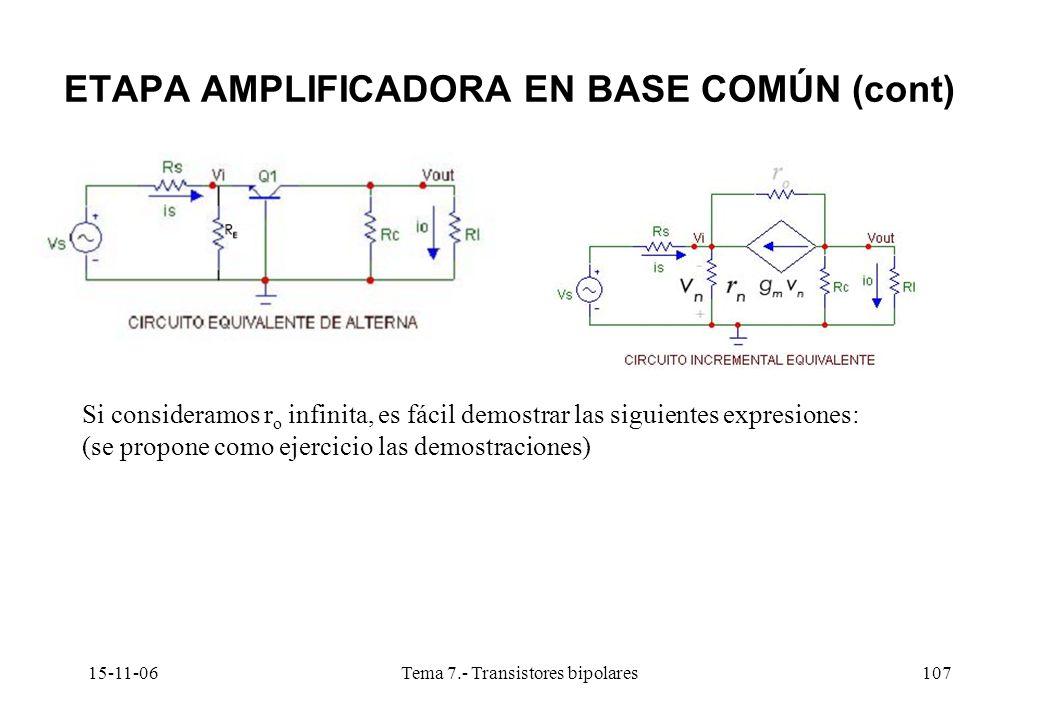 15-11-06Tema 7.- Transistores bipolares107 ETAPA AMPLIFICADORA EN BASE COMÚN (cont) Si consideramos r o infinita, es fácil demostrar las siguientes expresiones: (se propone como ejercicio las demostraciones)
