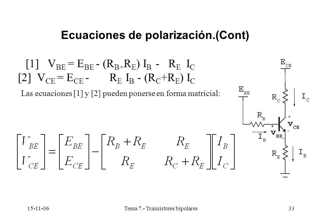 15-11-06Tema 7.- Transistores bipolares33 Ecuaciones de polarización.(Cont) [1] V BE = E BE - (R B+ R E ) I B - R E I C [2] V CE = E CE - R E I B - (R C +R E ) I C Las ecuaciones [1] y [2] pueden ponerse en forma matricial: