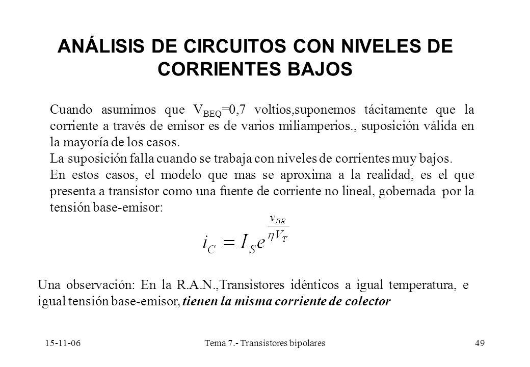 15-11-06Tema 7.- Transistores bipolares49 ANÁLISIS DE CIRCUITOS CON NIVELES DE CORRIENTES BAJOS Cuando asumimos que V BEQ =0,7 voltios,suponemos tácitamente que la corriente a través de emisor es de varios miliamperios., suposición válida en la mayoría de los casos.