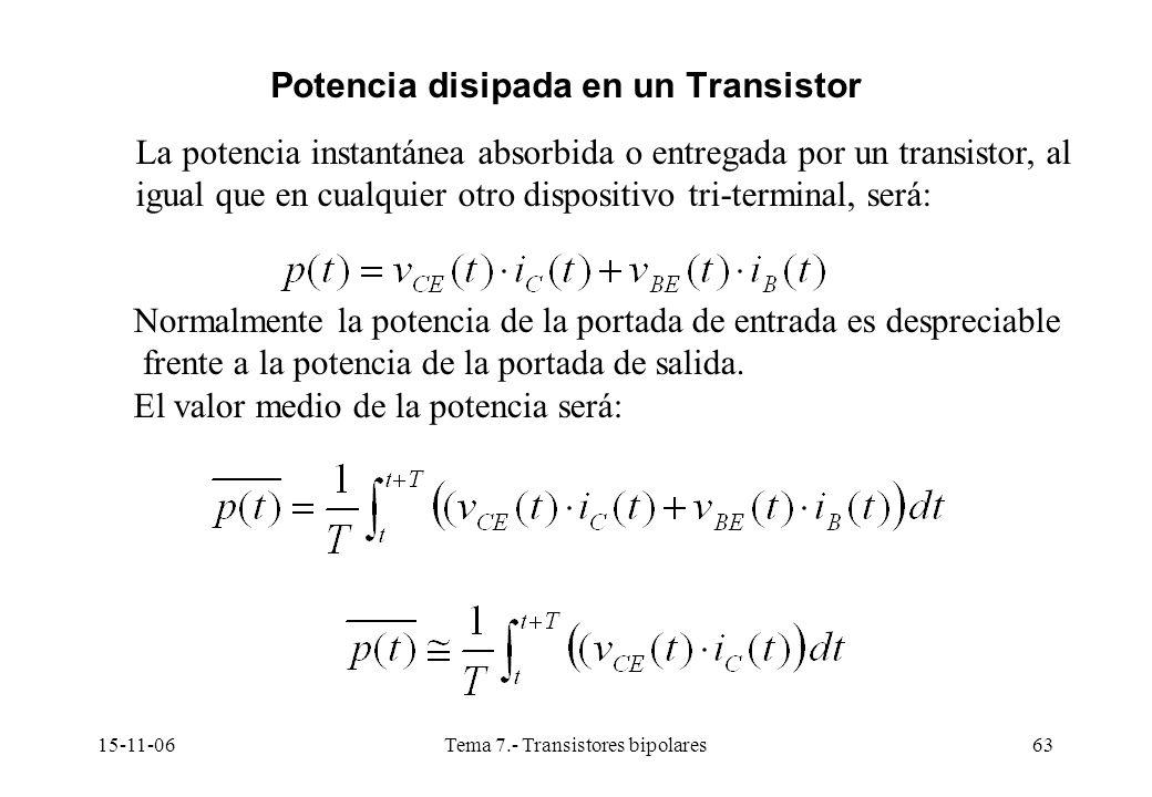 15-11-06Tema 7.- Transistores bipolares63 La potencia instantánea absorbida o entregada por un transistor, al igual que en cualquier otro dispositivo tri-terminal, será: Normalmente la potencia de la portada de entrada es despreciable frente a la potencia de la portada de salida.