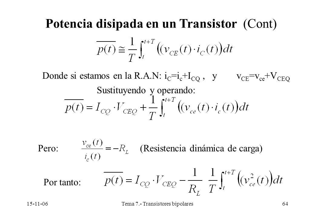 15-11-06Tema 7.- Transistores bipolares64 Potencia disipada en un Transistor (Cont) Donde si estamos en la R.A.N: i C =i c +I CQ, y v CE =v ce +V CEQ