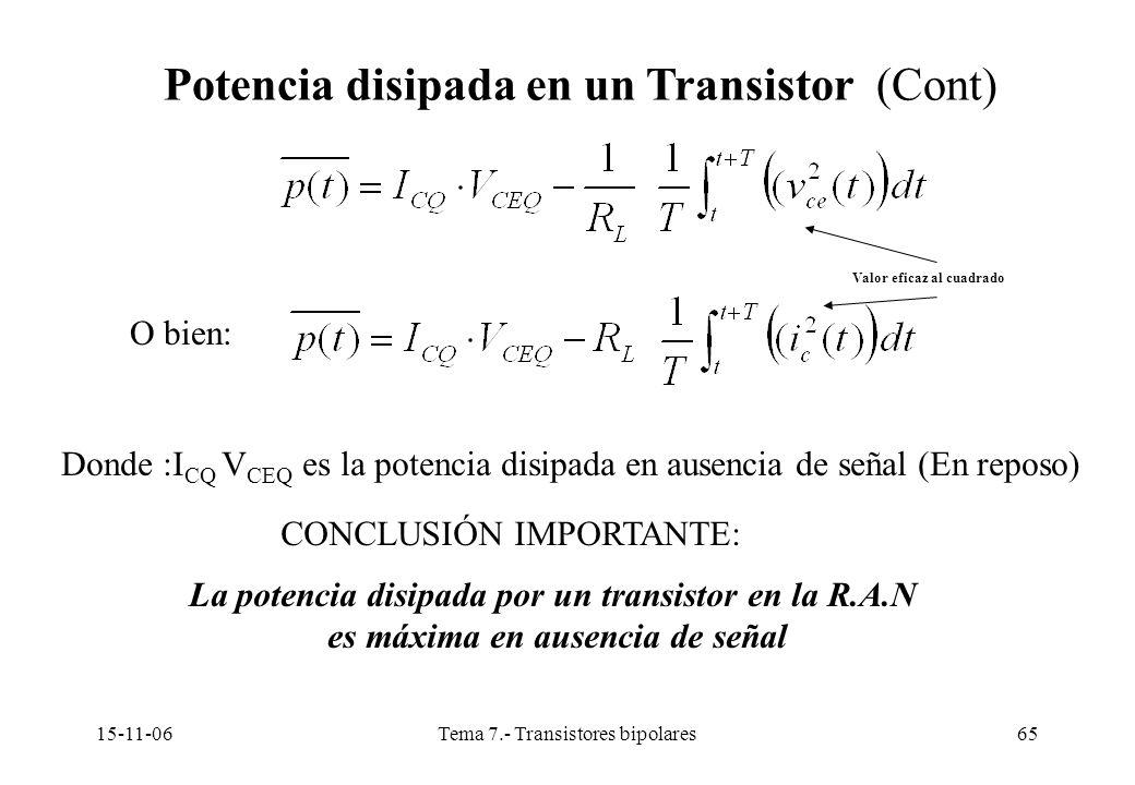 15-11-06Tema 7.- Transistores bipolares65 Potencia disipada en un Transistor (Cont) O bien: Valor eficaz al cuadrado Donde :I CQ V CEQ es la potencia