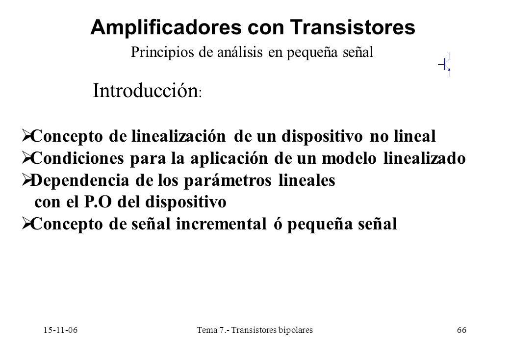 15-11-06Tema 7.- Transistores bipolares66 Amplificadores con Transistores Principios de análisis en pequeña señal Introducción : Concepto de linealización de un dispositivo no lineal Condiciones para la aplicación de un modelo linealizado Dependencia de los parámetros lineales con el P.O del dispositivo Concepto de señal incremental ó pequeña señal