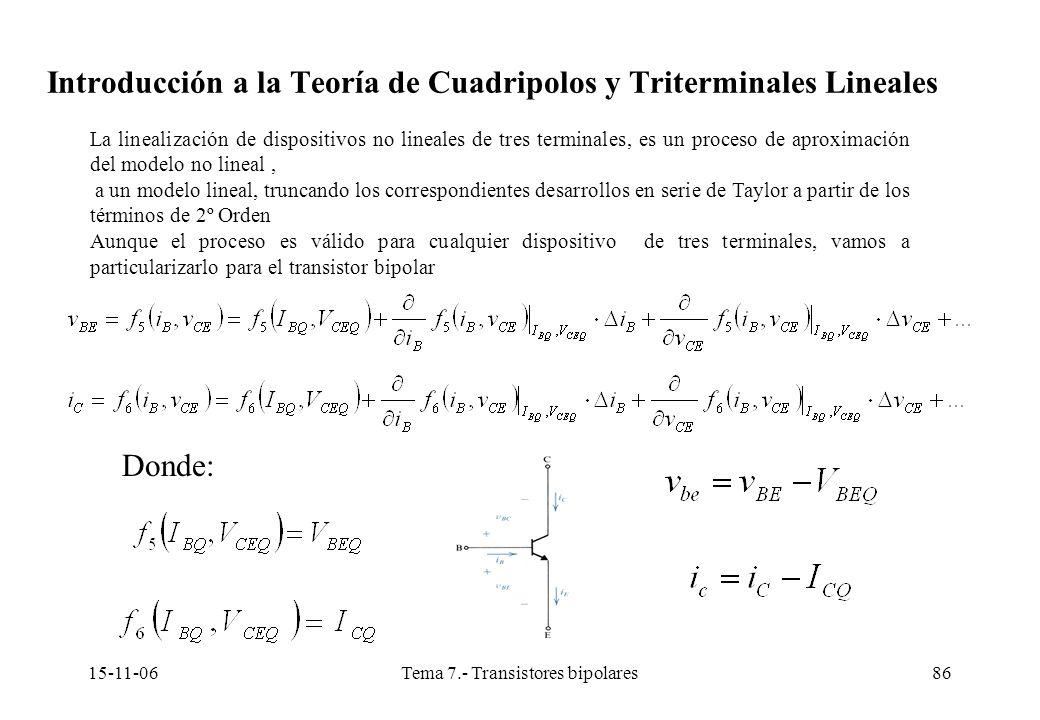 15-11-06Tema 7.- Transistores bipolares86 La linealización de dispositivos no lineales de tres terminales, es un proceso de aproximación del modelo no