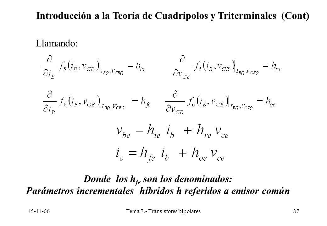 15-11-06Tema 7.- Transistores bipolares87 Llamando: Donde los h je son los denominados: Parámetros incrementales híbridos h referidos a emisor común Introducción a la Teoría de Cuadripolos y Triterminales (Cont)