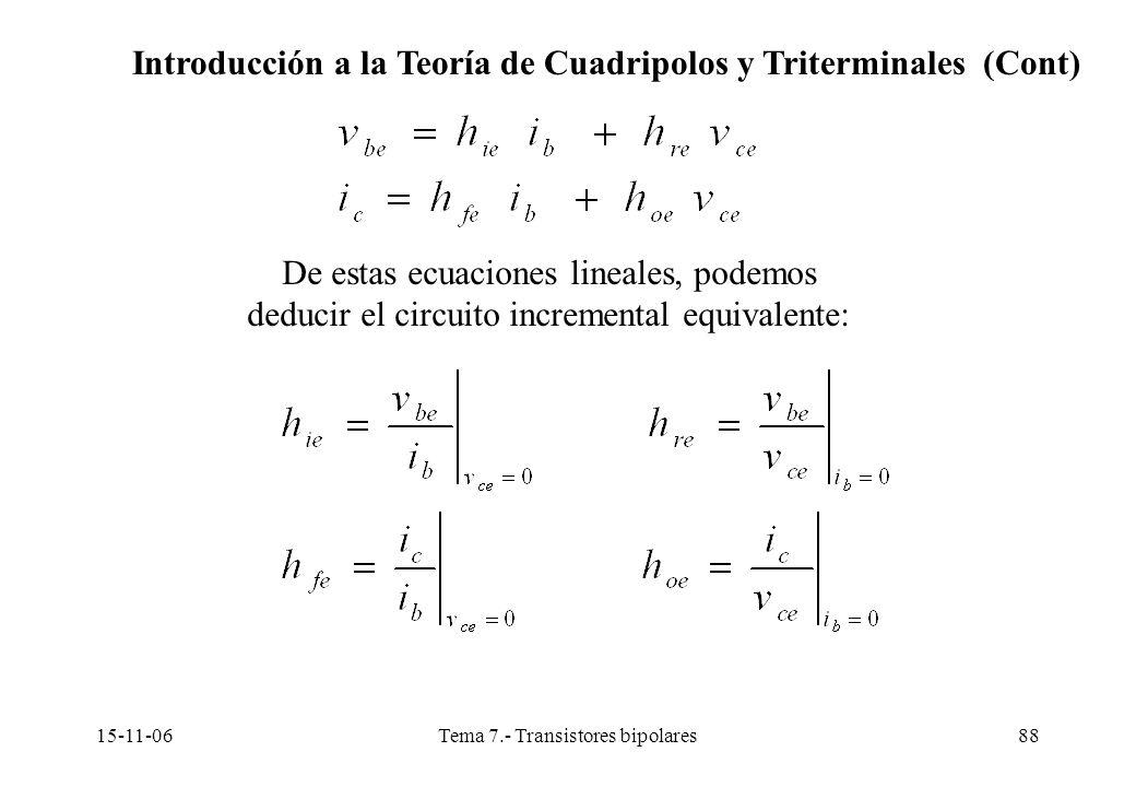 15-11-06Tema 7.- Transistores bipolares88 De estas ecuaciones lineales, podemos deducir el circuito incremental equivalente: Introducción a la Teoría de Cuadripolos y Triterminales (Cont)