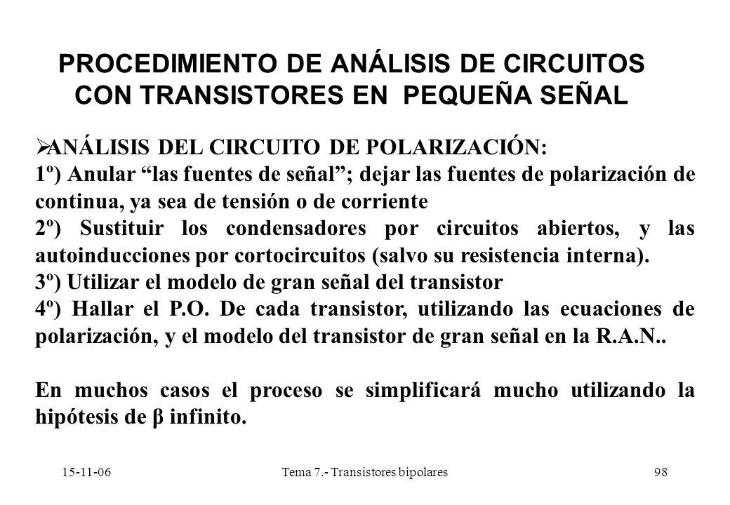 15-11-06Tema 7.- Transistores bipolares98 PROCEDIMIENTO DE ANÁLISIS DE CIRCUITOS CON TRANSISTORES EN PEQUEÑA SEÑAL ANÁLISIS DEL CIRCUITO DE POLARIZACIÓN: 1º) Anular las fuentes de señal; dejar las fuentes de polarización de continua, ya sea de tensión o de corriente 2º) Sustituir los condensadores por circuitos abiertos, y las autoinducciones por cortocircuitos (salvo su resistencia interna).