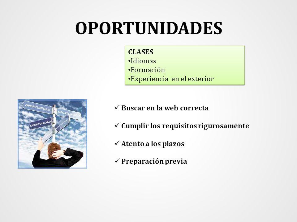 OPORTUNIDADES CLASES Idiomas Formación Experiencia en el exterior CLASES Idiomas Formación Experiencia en el exterior Buscar en la web correcta Cumpli