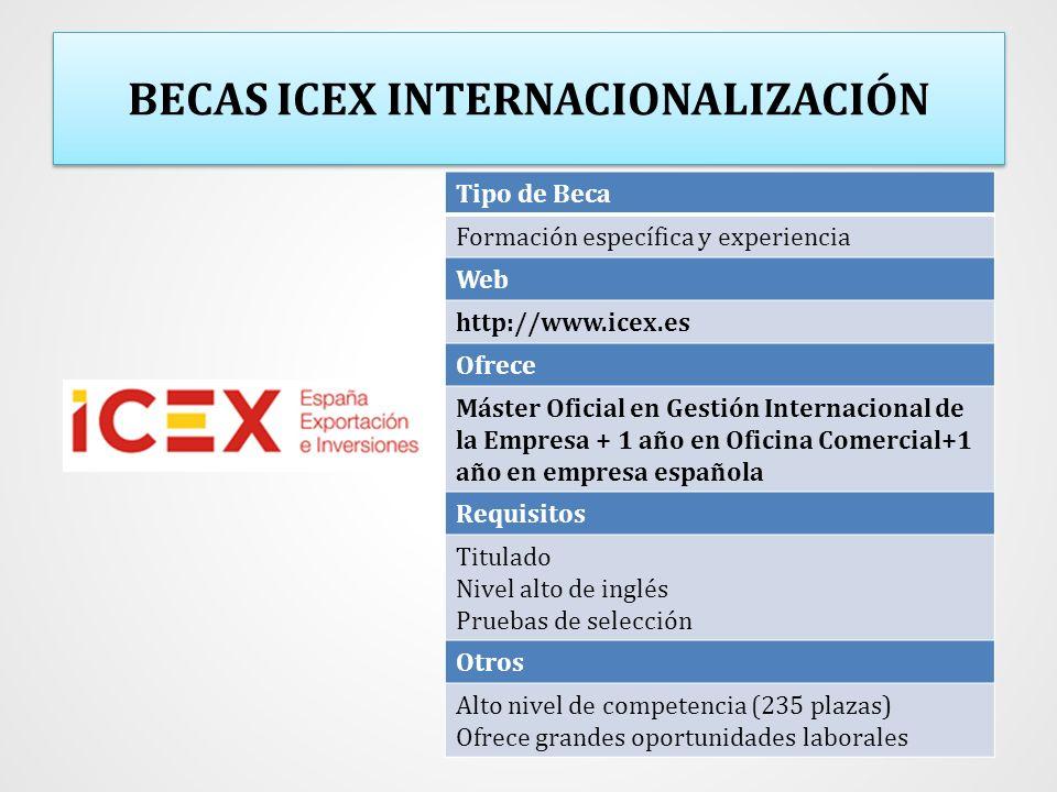BECAS ICEX INTERNACIONALIZACIÓN Tipo de Beca Formación específica y experiencia Web http://www.icex.es Ofrece Máster Oficial en Gestión Internacional