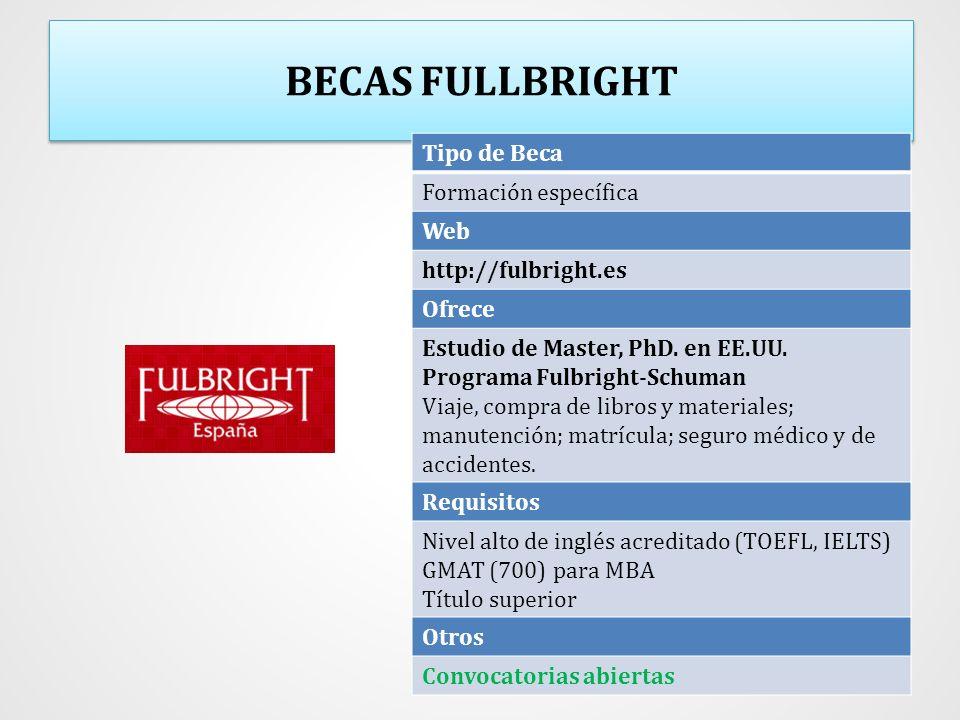 BECAS FULLBRIGHT Tipo de Beca Formación específica Web http://fulbright.es Ofrece Estudio de Master, PhD. en EE.UU. Programa Fulbright-Schuman Viaje,