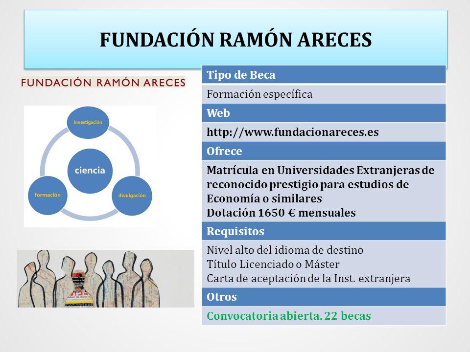 FUNDACIÓN RAMÓN ARECES Tipo de Beca Formación específica Web http://www.fundacionareces.es Ofrece Matrícula en Universidades Extranjeras de reconocido