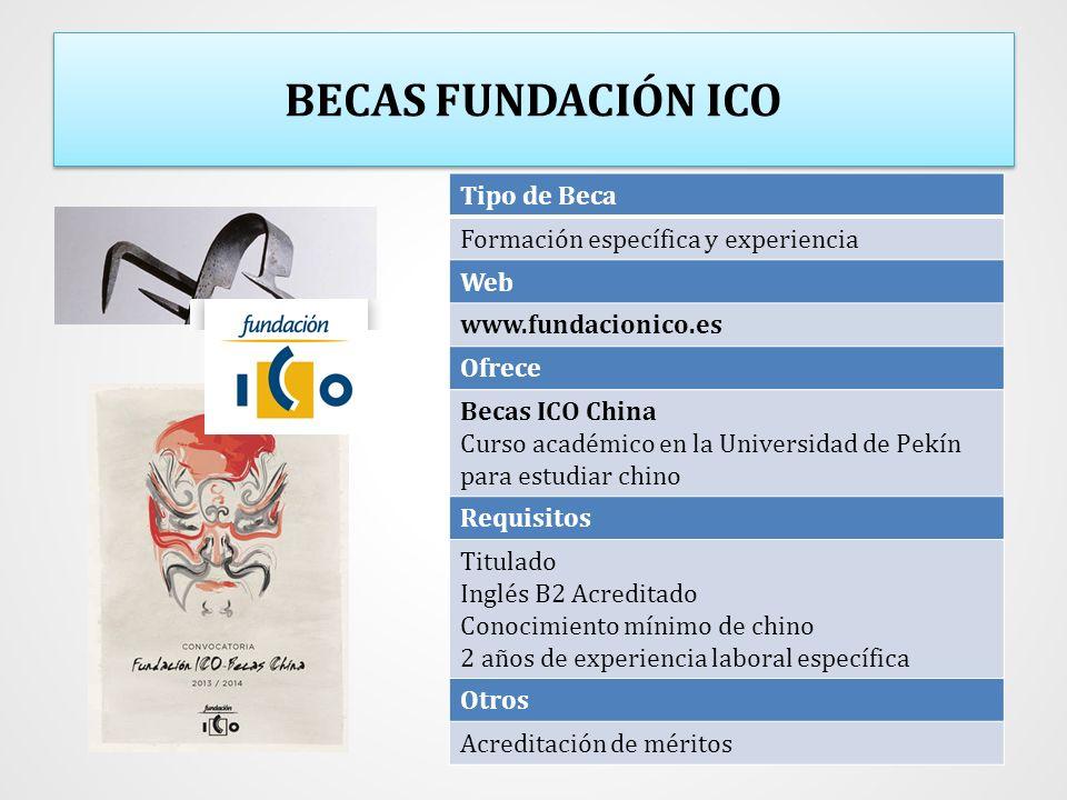 BECAS FUNDACIÓN ICO Tipo de Beca Formación específica y experiencia Web www.fundacionico.es Ofrece Becas ICO China Curso académico en la Universidad d