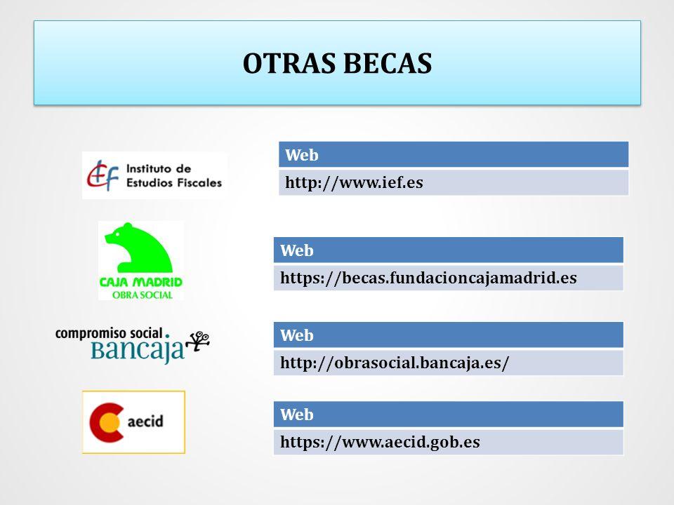 OTRAS BECAS Web http://www.ief.es Web https://becas.fundacioncajamadrid.es Web http://obrasocial.bancaja.es/ Web https://www.aecid.gob.es