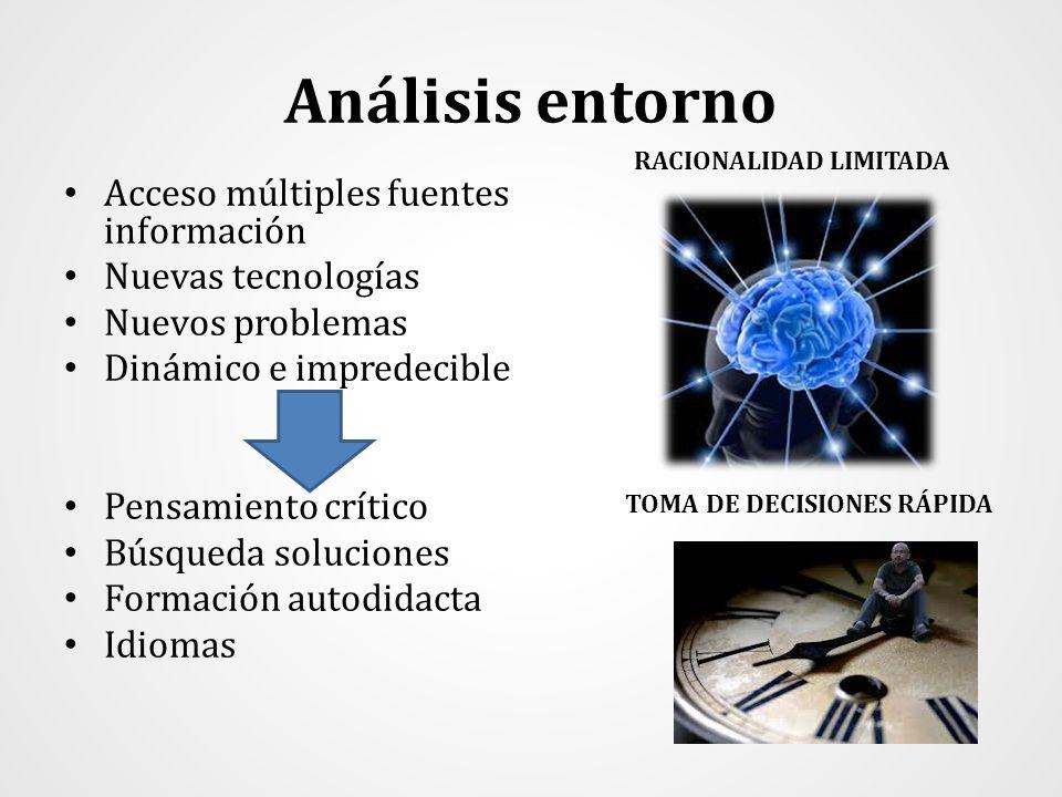 Análisis entorno Acceso múltiples fuentes información Nuevas tecnologías Nuevos problemas Dinámico e impredecible Pensamiento crítico Búsqueda solucio