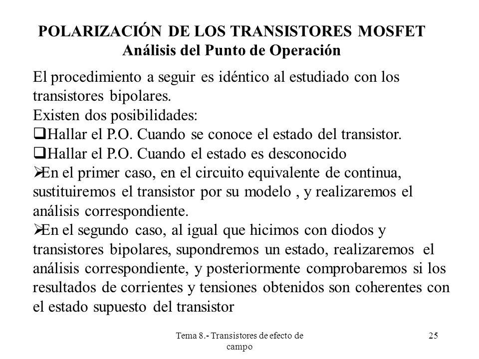 Tema 8.- Transistores de efecto de campo 26 POLARIZACIÓN DE LOS TRANSISTORES MOSFET Análisis de transistores en estado activo En el circuito equivalente de continua sustituimos el mosfet por su modelo de gran señal en la zona activa: i D =K (v GS -v t ) 2 = (k/2) (v GS -v t ) 2 i G =0; I D =I S Que junto a las ecuaciones impuestas por la red de polarización (ecuaciones de polarización) Da lugar a resolver dos ecuaciones, una de ellas cuadrática, con dos incógnitas, que matemáticamente tiene dos posibles soluciones (P.O.), de los cuales, solamente una de ellas tendrá significado físico