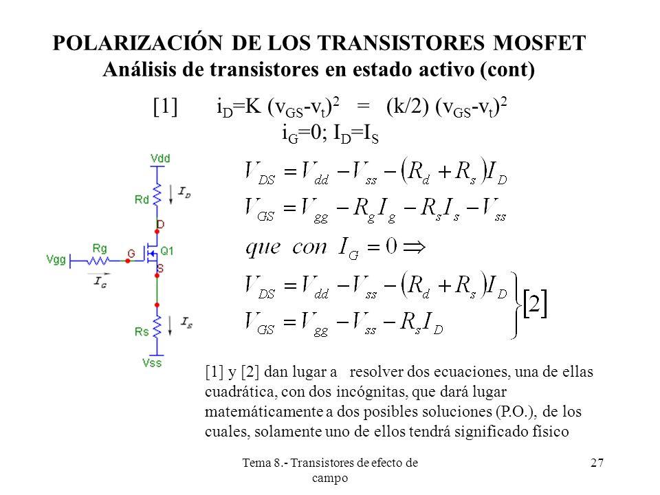 Tema 8.- Transistores de efecto de campo 28 ANÁLISIS DE TRANSISTORES EN ESTADO DESCONOCIDO Se sigue el mismo procedimiento que con los transistores bipolares: 1º) Hacer una suposición sobre el estado de cada transistor.