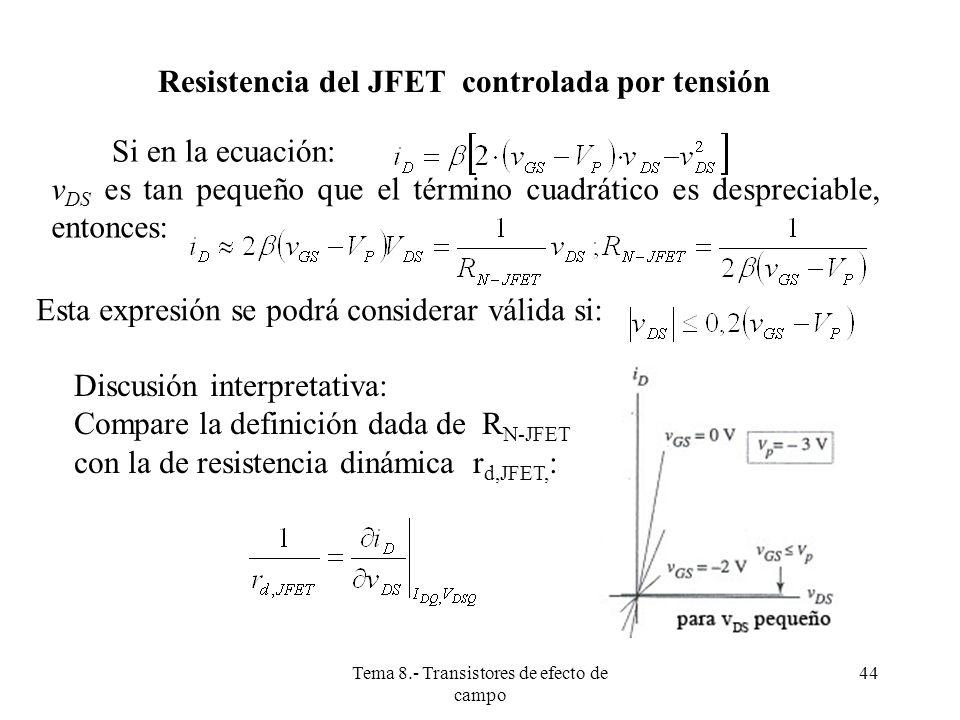 Tema 8.- Transistores de efecto de campo 45 ESTADO ACTIVO DEL TRANSISTOR JFET El JFET de canal N, se encuentra en el estado activo o zona de saturación del canal si: Entonces, la corriente de drenador viene dada por la expresión: La corriente i D que circula cuando V GS es igual a cero y el transistor está en estado activo, se denomina I DSS I DSS es un parámetro que suele aparecer en las hojas de características, junto con V P, de los cuales se puede deducir β (V P negativo en los JFET N)