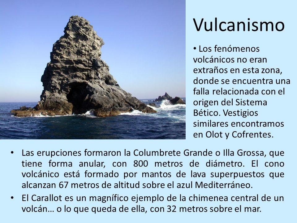 Vulcanismo Las erupciones formaron la Columbrete Grande o Illa Grossa, que tiene forma anular, con 800 metros de diámetro. El cono volcánico está form