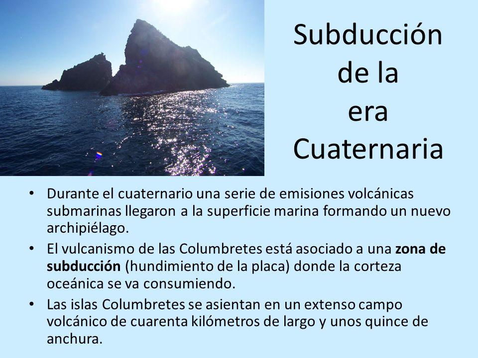 Subducción de la era Cuaternaria Durante el cuaternario una serie de emisiones volcánicas submarinas llegaron a la superficie marina formando un nuevo