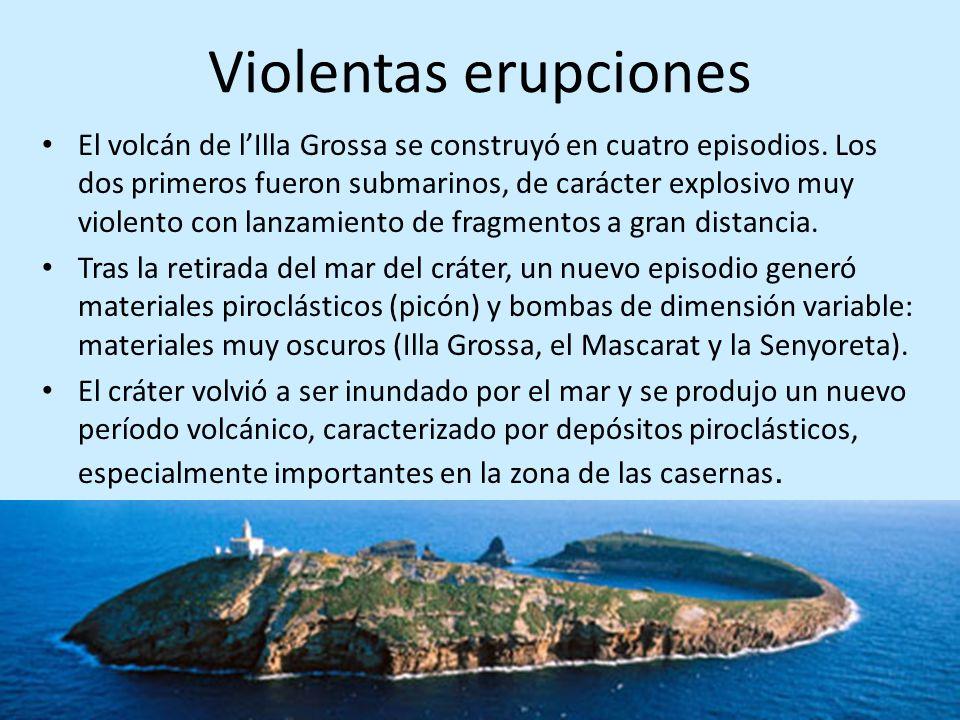 Violentas erupciones El volcán de lIlla Grossa se construyó en cuatro episodios. Los dos primeros fueron submarinos, de carácter explosivo muy violent