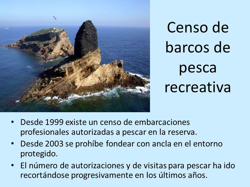 Censo de barcos de pesca recreativa Desde 1999 existe un censo de embarcaciones profesionales autorizadas a pescar en la reserva. Desde 2003 se prohíb