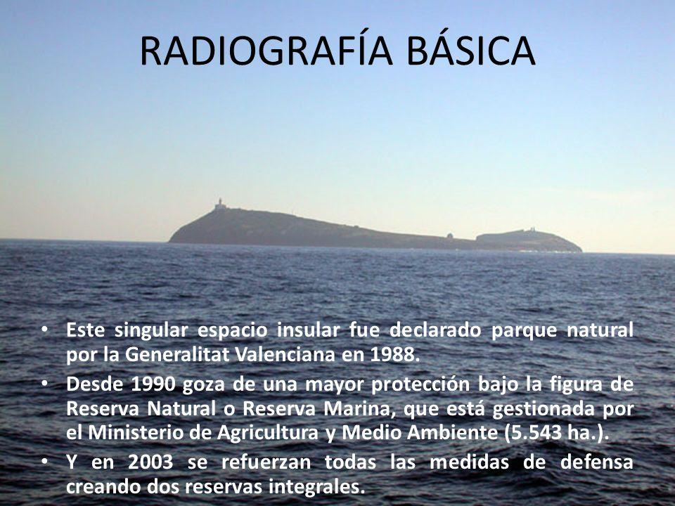 RADIOGRAFÍA BÁSICA Este singular espacio insular fue declarado parque natural por la Generalitat Valenciana en 1988. Desde 1990 goza de una mayor prot