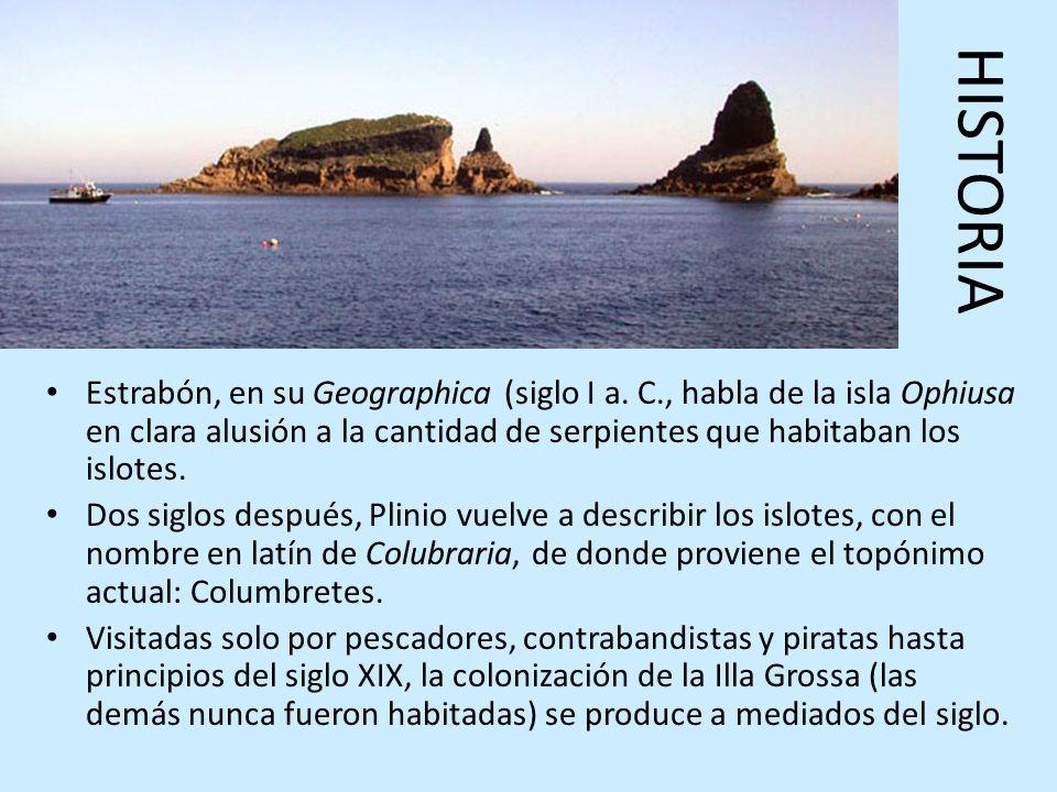 HISTORIA Estrabón, en su Geographica (siglo I a. C., habla de la isla Ophiusa en clara alusión a la cantidad de serpientes que habitaban los islotes.