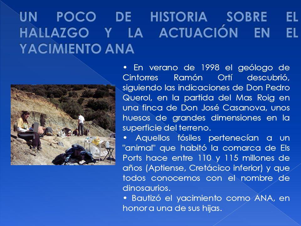 En verano de 1998 el geólogo de Cintorres Ramón Ortí descubrió, siguiendo las indicaciones de Don Pedro Querol, en la partida del Mas Roig en una finc