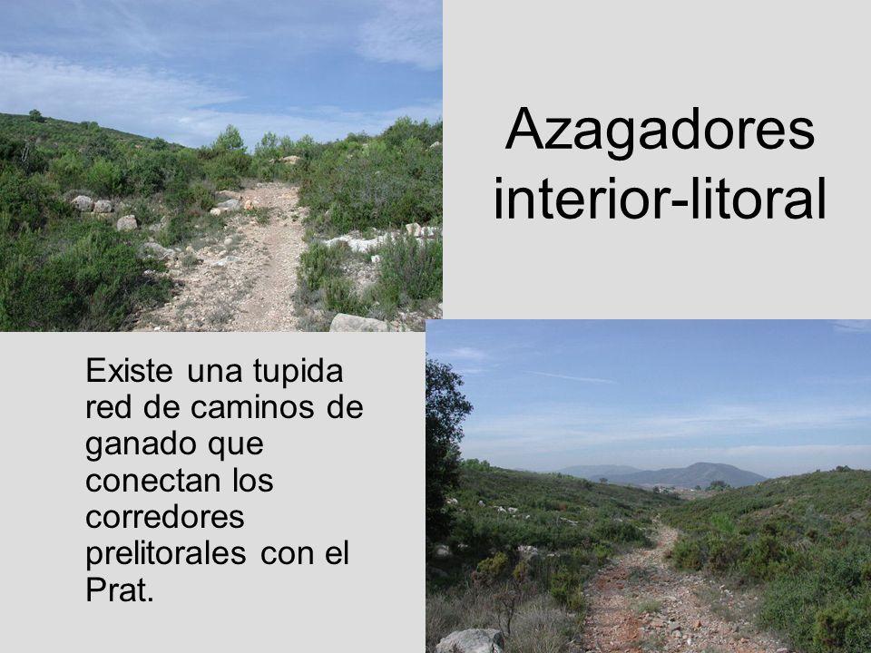 Azagadores interior-litoral Existe una tupida red de caminos de ganado que conectan los corredores prelitorales con el Prat.