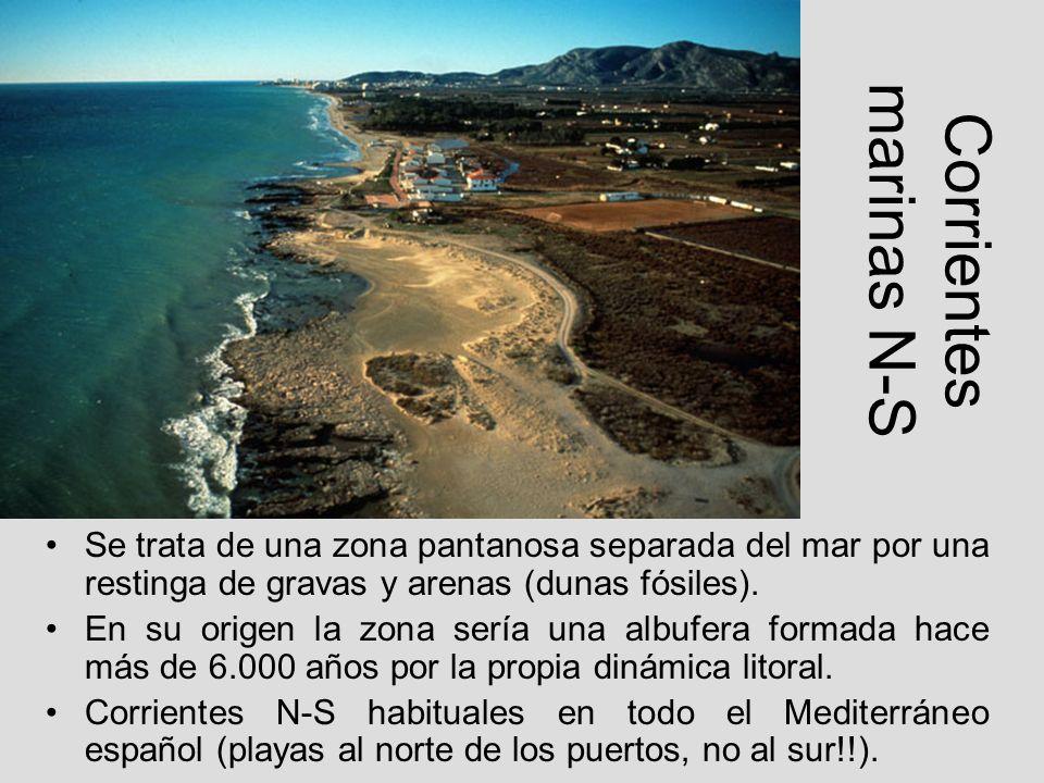 Corrientes marinas N-S Se trata de una zona pantanosa separada del mar por una restinga de gravas y arenas (dunas fósiles). En su origen la zona sería