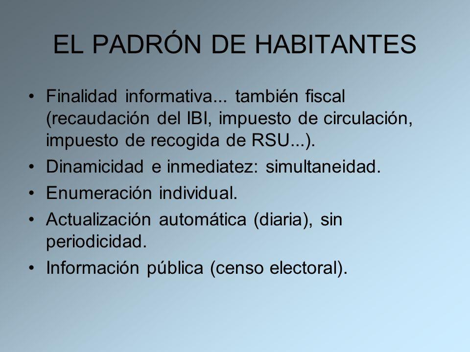 EL PADRÓN DE HABITANTES Finalidad informativa... también fiscal (recaudación del IBI, impuesto de circulación, impuesto de recogida de RSU...). Dinami