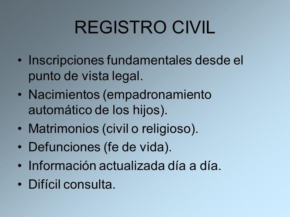 REGISTRO CIVIL Inscripciones fundamentales desde el punto de vista legal. Nacimientos (empadronamiento automático de los hijos). Matrimonios (civil o