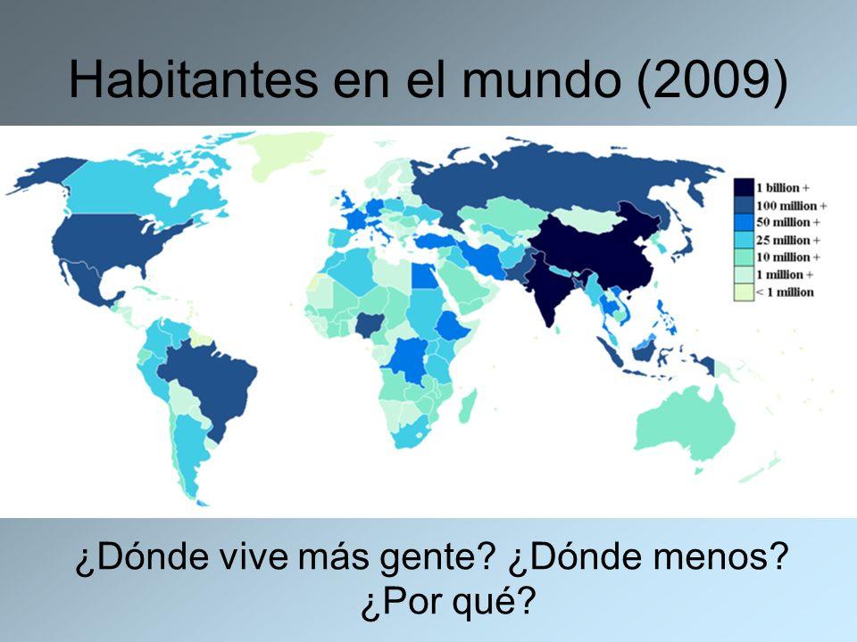 Habitantes en el mundo (2009) ¿Dónde vive más gente? ¿Dónde menos? ¿Por qué?