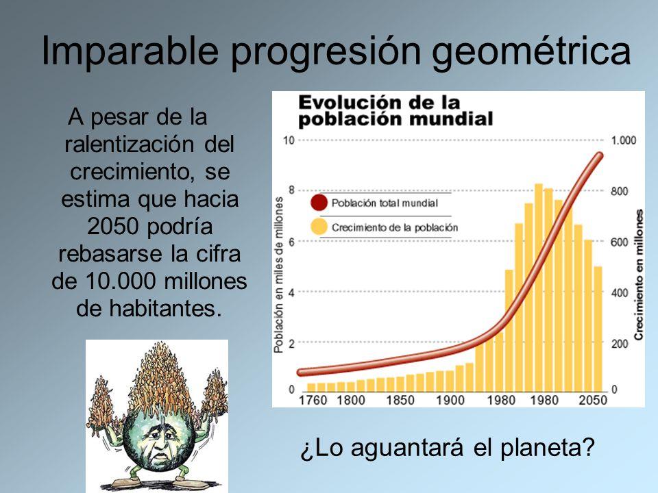 Imparable progresión geométrica A pesar de la ralentización del crecimiento, se estima que hacia 2050 podría rebasarse la cifra de 10.000 millones de