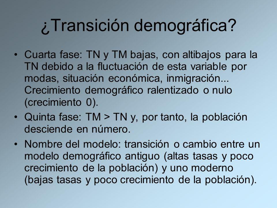 ¿Transición demográfica? Cuarta fase: TN y TM bajas, con altibajos para la TN debido a la fluctuación de esta variable por modas, situación económica,