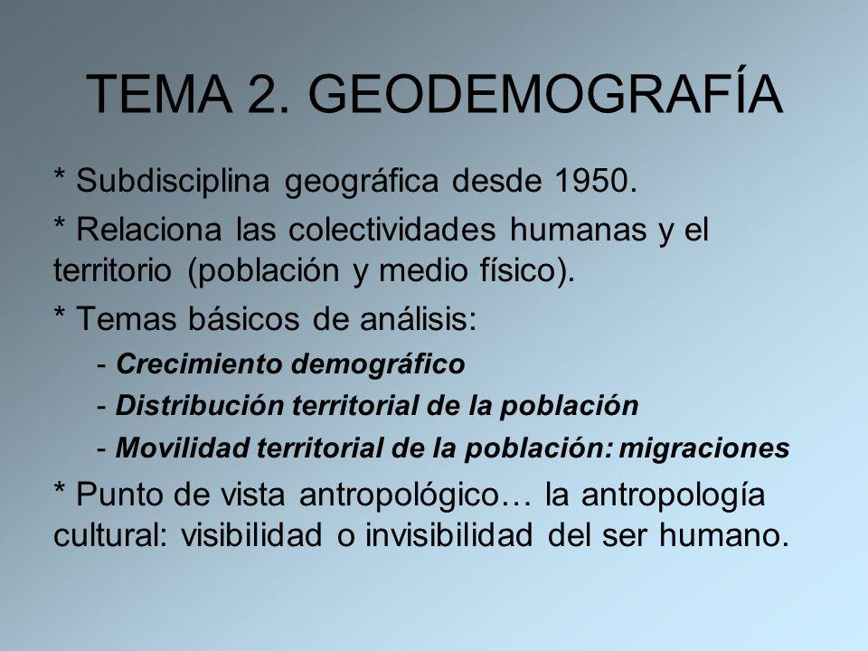 TEMA 2. GEODEMOGRAFÍA * Subdisciplina geográfica desde 1950. * Relaciona las colectividades humanas y el territorio (población y medio físico). * Tema