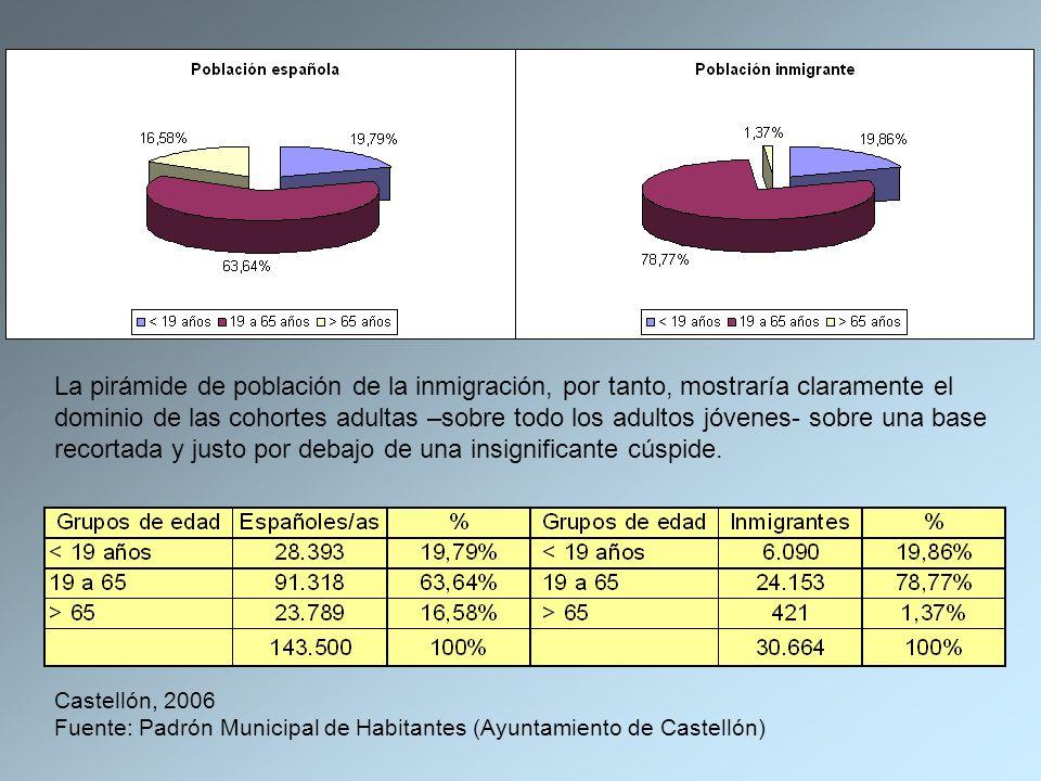 La pirámide de población de la inmigración, por tanto, mostraría claramente el dominio de las cohortes adultas –sobre todo los adultos jóvenes- sobre