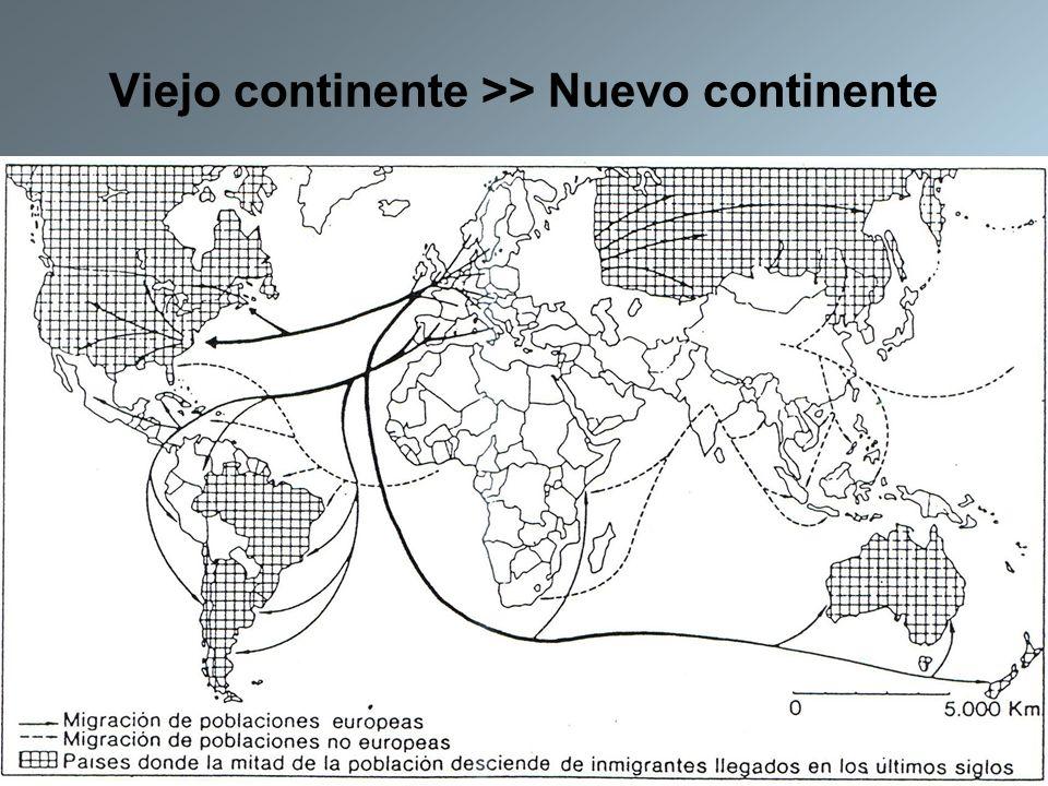 Viejo continente >> Nuevo continente