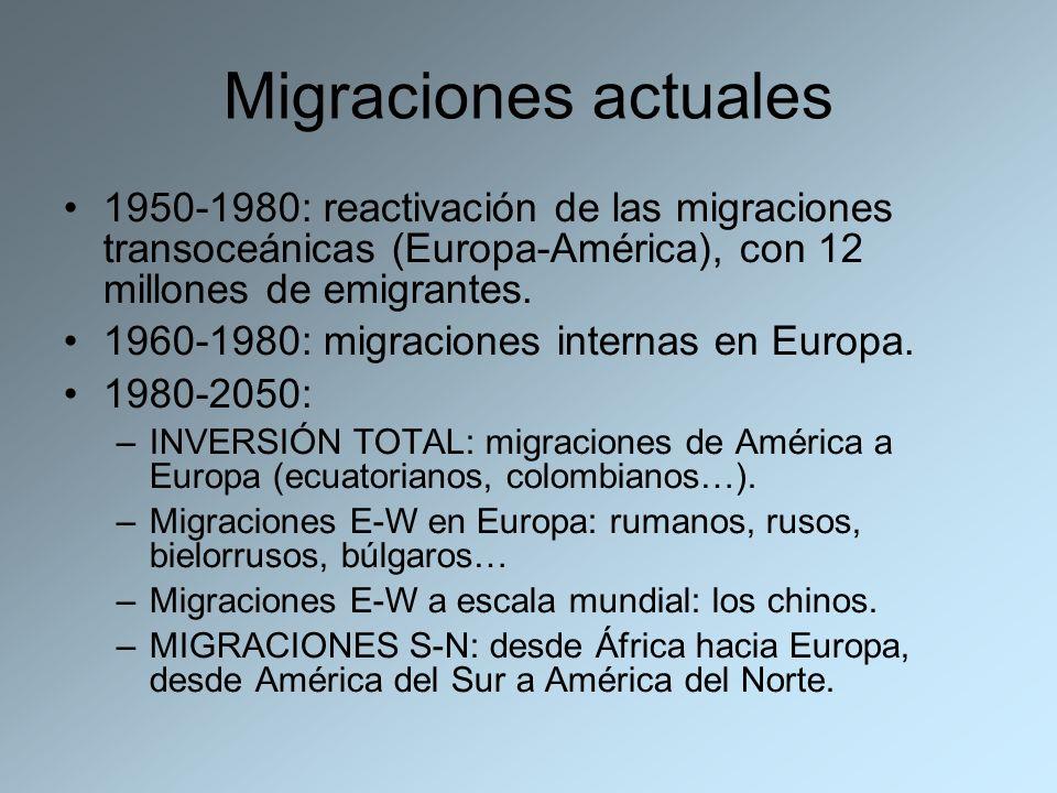 Migraciones actuales 1950-1980: reactivación de las migraciones transoceánicas (Europa-América), con 12 millones de emigrantes. 1960-1980: migraciones